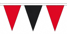 RED AND BLACK TRIANGULAR BUNTING - 10m / 20m / 50m LENGTHS